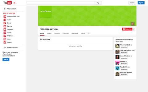 Screenshot of YouTube Page youtube.com - mimbrea revista  - YouTube - captured Oct. 29, 2014