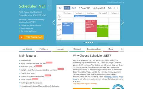 Screenshot of Home Page scheduler-net.com - ASP.NET Scheduler  Event Calendar for ASP.NET MVC - DHTMLX - captured Sept. 25, 2014
