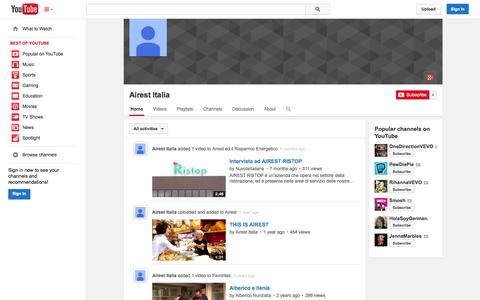Screenshot of YouTube Page youtube.com - Airest Italia  - YouTube - captured Oct. 23, 2014