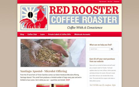 Screenshot of Home Page redroostercoffeeroaster.com - Home - Red Rooster Coffee Roaster - captured Jan. 21, 2015