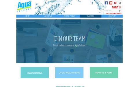 Screenshot of Jobs Page aqualeisure.com - Aqua-Leisure Industries Career - captured Oct. 4, 2018