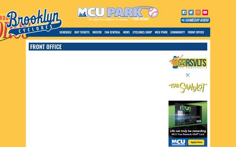 Screenshot of Contact Page brooklyncyclones.com - brooklyncyclones.com: Front Office - captured Aug. 4, 2018