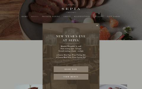 Screenshot of Menu Page sepiachicago.com - Sepia ~ Menus - captured Nov. 28, 2018