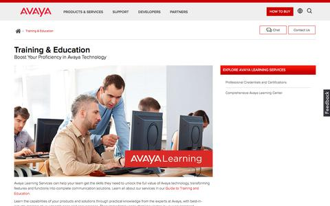 Screenshot of Support Page avaya.com - Avaya Technology Learning & Training Services   Support Resources   Avaya - captured May 3, 2018