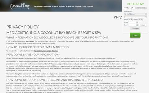 Screenshot of Privacy Page cbayresort.com - Privacy Policy | Coconut Bay Beach Resort & Spa - captured Sept. 28, 2018