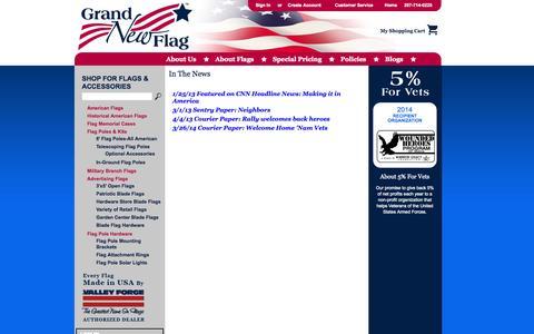 Screenshot of Press Page grandnewflag.com - Grand New Flag in the News - captured Sept. 30, 2014