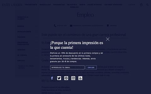 Screenshot of Jobs Page esteelauder.es - Customer Service - Careers | Estee Lauder Spain E-Commerce Site - captured Jan. 15, 2018