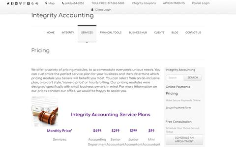 Screenshot of Pricing Page integrityaccountinggroup.com - Our Prices   Integrity Accounting - captured Oct. 15, 2017