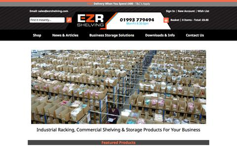 Screenshot of Home Page ezrshelving.com - Commercial Shelving, Racking & Industrial Storage Systems UK - captured Sept. 18, 2019