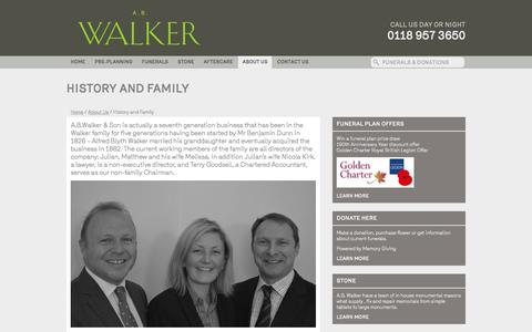 Screenshot of About Page abwalker.co.uk - History and Family - Funeral Directors | Funerals | Funeral Director Berkshire  | Funeral Directors | Funerals - A.B. Walker & Son Ltd - captured Nov. 16, 2016