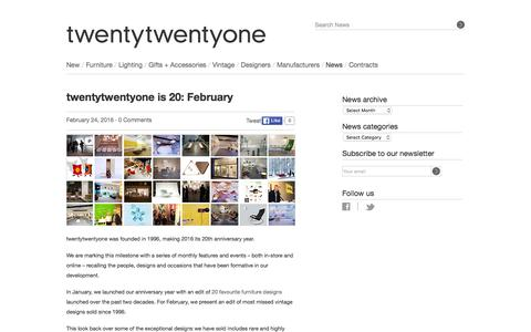 Screenshot of twentytwentyone.com - twentytwentyone — twentytwentyone is 20: February - captured March 20, 2016
