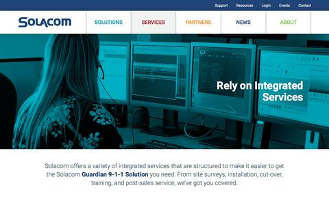 Screenshot of Services Page solacom.com - Customized, Integrated Services | Solacom - captured Oct. 22, 2017