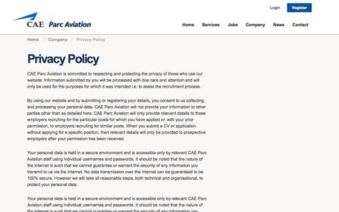 Screenshot of Privacy Page caeparcaviation.com - Privacy Policy |  CAE Parc Aviation - captured Sept. 22, 2014