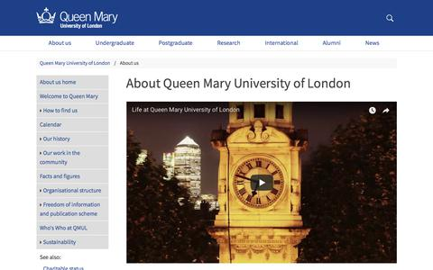 Screenshot of About Page qmul.ac.uk - About Queen Mary University of London - Queen Mary University of London - captured March 3, 2018
