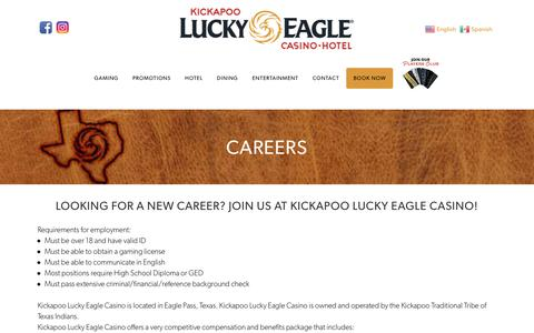 Screenshot of Jobs Page luckyeagletexas.com - Kickapoo Lucky Eagle Casino Hotel in Eagle Pass, Texas! | Employment - captured Oct. 15, 2018
