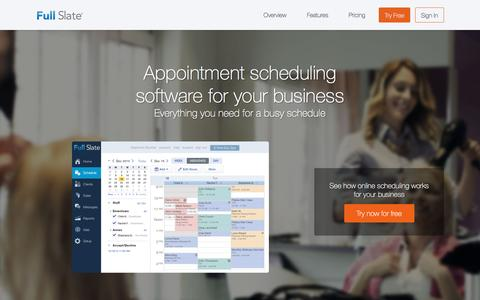 Screenshot of Home Page fullslate.com - Online Appointment Scheduling by Full Slate - captured April 28, 2016