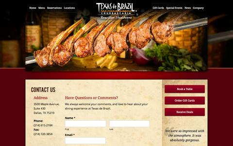 Screenshot of Contact Page texasdebrazil.com - Contact Us | Texas de Brazil - Brazilian Steakhouse - captured Sept. 19, 2014