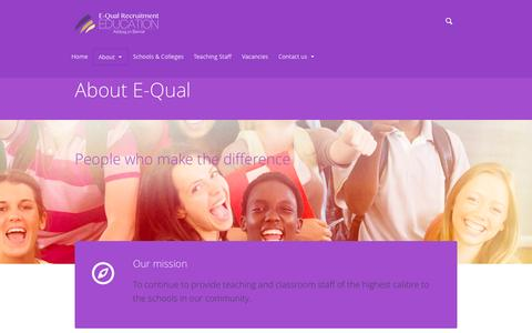 Screenshot of About Page equalrecruitment.co.uk - About E-Qual   | E-Qual Recruitment - captured Oct. 1, 2014