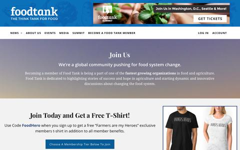 Screenshot of Signup Page foodtank.com - Join Food Tank - Become A Member Today - captured Oct. 3, 2017