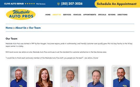 Screenshot of Team Page westsideautopros.com - Our Team - Westside Auto Pros inc. - captured Jan. 22, 2019