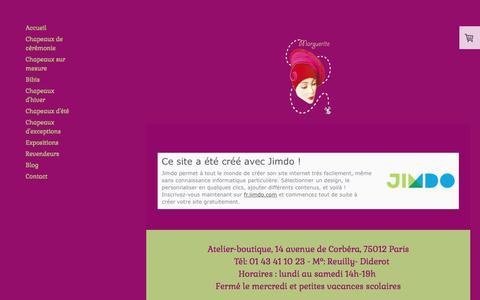 Screenshot of About Page jimdo.com - Mentions légales - chapeaux-marguerite paris - captured March 24, 2017