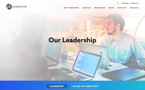 Screenshot of Team Page prokarma.com - Leadership - ProKarma - captured March 17, 2018