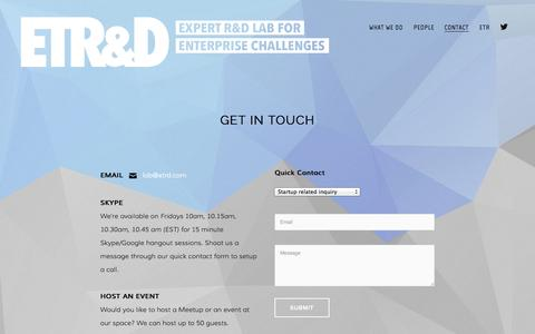 Screenshot of Contact Page etrd.com - Contact — ETR&D - captured Sept. 27, 2014