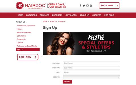 Screenshot of Signup Page hairzoo.com - Sign Up | Hairzoo - captured Nov. 4, 2018