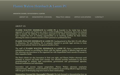 Screenshot of About Page flammlaw.com - FLAMM WALTON HEIMBACH & LAMM PC ~ About Us - captured Feb. 10, 2016