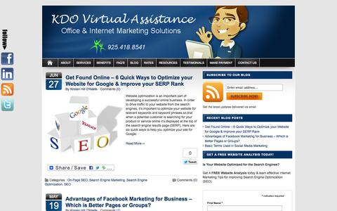 Screenshot of Blog kdovirtualassistance.com - Blog | Virtual Assistant & Internet Marketing Services | KDO Virtual Assistance - captured Sept. 30, 2014