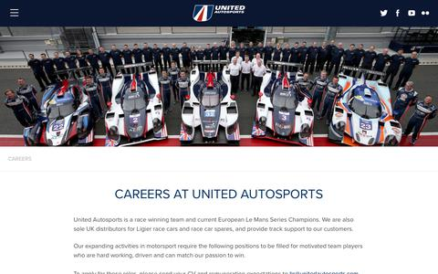 Screenshot of Jobs Page unitedautosports.com - Join the United Autosports team - latest vacancies - captured Jan. 20, 2018