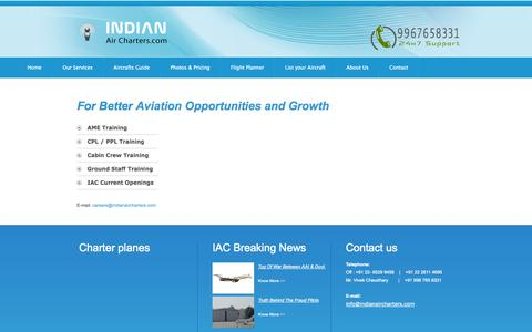 Screenshot of Jobs Page indianaircharters.com - Indian Business Charters : Careers - captured Oct. 4, 2014