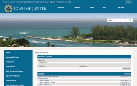 Screenshot of Contact Page jupiter.fl.us - Jupiter, FL - Official Website - captured Sept. 22, 2018