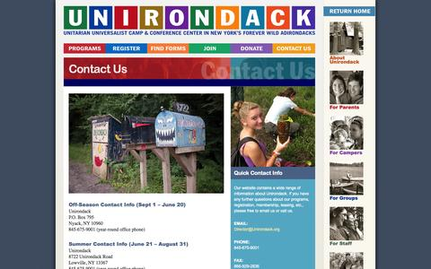 Screenshot of Contact Page unirondack.org - Contact Us   Camp Unirondack - captured Oct. 1, 2014