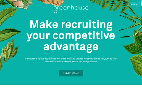 Screenshot of Home Page greenhouse.io - Recruiting Software - Applicant Tracking System | Greenhouse Software - captured Nov. 12, 2016