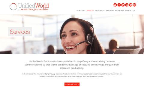 Screenshot of Services Page unifiedworld.co.uk - Business Mobiles and Phone System Services, Lancashire | Unified World - captured Feb. 1, 2018