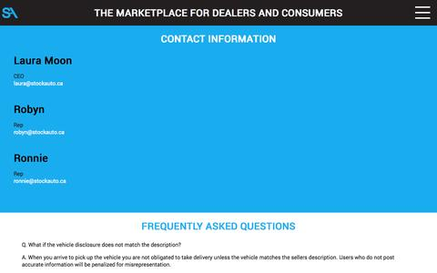 Screenshot of FAQ Page stockauto.ca - Register Dealer - Stock Auto - captured Oct. 9, 2014