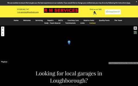 Screenshot of Contact Page r-m-services.com - R M Services | your local garage in the Loughborough area. - captured Nov. 2, 2017
