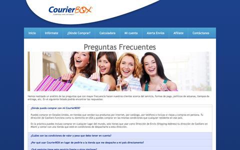 Screenshot of FAQ Page courierbox.com - CourierBOX - Casillero Internacional - captured Jan. 20, 2016