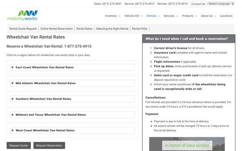 Screenshot of Pricing Page mobilityworks.com - Wheelchair Van Rental Rates - MobilityWorks - captured Dec. 4, 2019