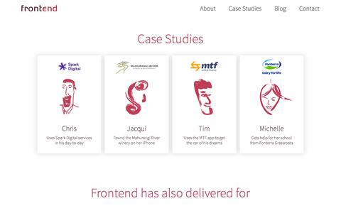 Screenshot of Case Studies Page frontend.co.nz - Frontend Design - Simplify your customer's life - captured Oct. 6, 2014
