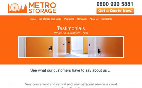 Screenshot of Testimonials Page metro-storage.co.uk - Testimonials & Reviews Of Our London Self Storage | Metro Storage - captured Oct. 18, 2017