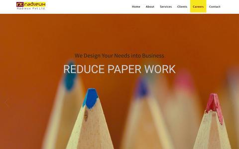 Screenshot of Jobs Page radieuxindia.com - Radieux Pvt Ltd | Software Development | Mobile Application Development | Animation and Graphics - captured Feb. 26, 2016