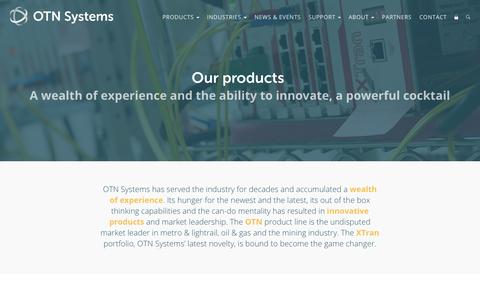 Screenshot of Products Page otnsystems.com - Our products · OTN Systems - captured April 7, 2017