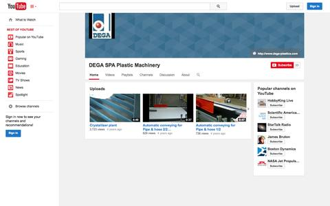 Screenshot of YouTube Page youtube.com - DEGA SPA Plastic Machinery  - YouTube - captured Oct. 25, 2014