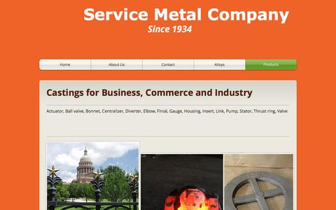 Screenshot of Products Page servicemetalcompany.com - Service Metal Company | Products - captured Dec. 11, 2016