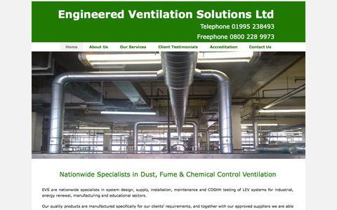Screenshot of Home Page Menu Page ventilationengineers.com - Home - Engineered Ventilation Solutions Ltd - captured Oct. 2, 2014