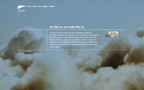 Screenshot of Support Page bspfilms.org - Support - Blue Sky Project - Documentary Films - captured Oct. 5, 2014
