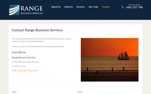 Screenshot of Contact Page rangeservices.com.au - Contact Range Business Services - Bookkeeping in Broome - captured Oct. 26, 2014