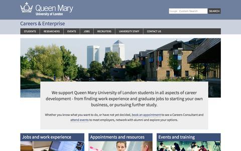 Screenshot of Jobs Page qmul.ac.uk - Careers - Careers & Enterprise - captured July 16, 2017